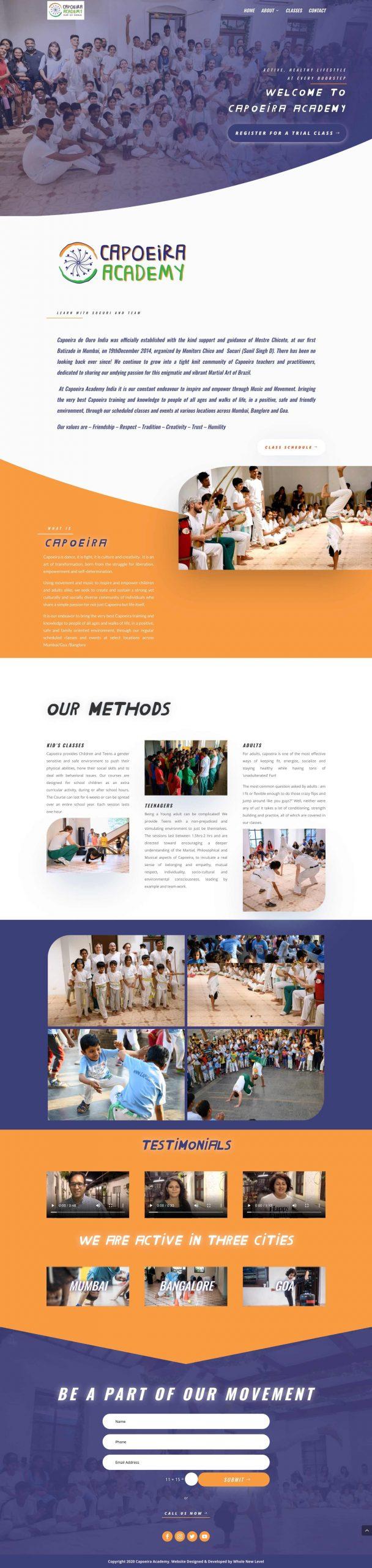 capoeira academy homepage